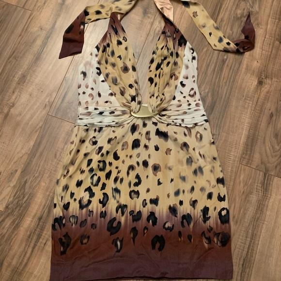 bebe Dresses & Skirts - Bebe Cheetah Print Halter Dress